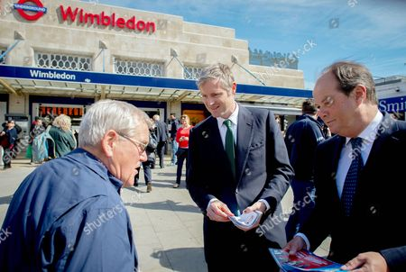 Stephen Hammond (r) and the Conservative Party Mayoral candidate Zac Goldsmith campaigning in Wimbledon after launching his manifesto in Southfields near Wimbledon. Zac Goldsmith Campaigning. London, United Kingdom