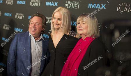 Richard Gelfond, chief executive office of IMAX, Jennifer Lawrence and Toni Myers