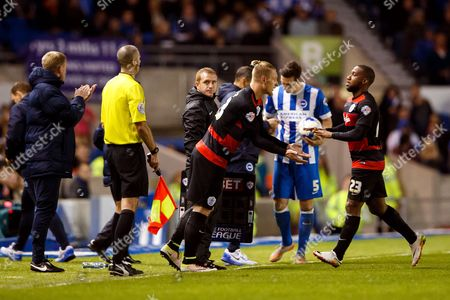 David Hoilett of QPR is substituted off and replaced by Sebastian Polter during the SkyBet Championship match between Brighton and Hove Albion and QPR played at AMEX Community Stadium, London on April 19th 2016