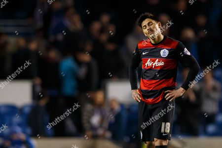 Alejandro Faurlin of QPR looks dejected during the SkyBet Championship match between Brighton and Hove Albion and QPR played at AMEX Community Stadium, London on April 19th 2016