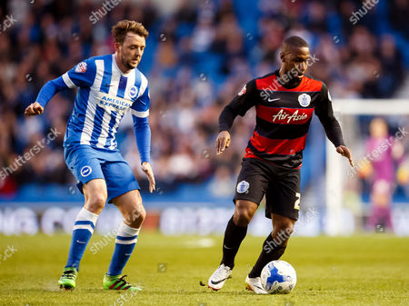 David Hoilett of QPR and Dale Stephens of Brighton & Hove Albionduring the SkyBet Championship match between Brighton and Hove Albion and QPR played at AMEX Community Stadium, London on April 19th 2016