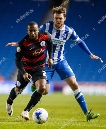 David Hoilett of QPR and Dale Stephens of Brighton & Hove Albion during the SkyBet Championship match between Brighton and Hove Albion and QPR played at AMEX Community Stadium, London on April 19th 2016