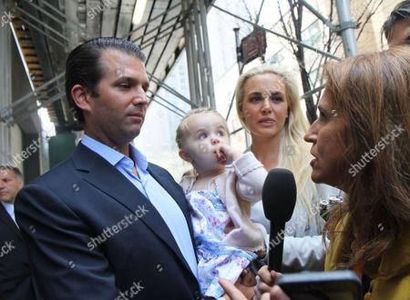 Donald Trump Jnr and wife Vanessa Haydon Trump and daughter go to vote for dad Donald Trump in the NY Primary