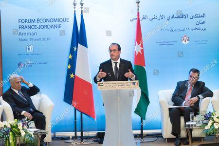Prime Minister Abdullah Ensour, Francois Hollande and a guest
