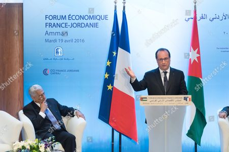 Stock Photo of Prime Minister Abdullah Ensour and Francois Hollande