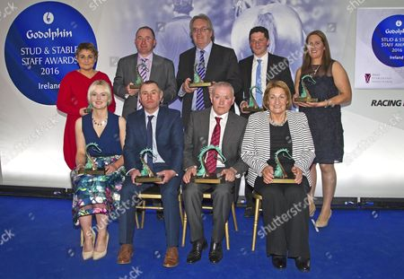Award winners (top row,left to right) Martina Murphy-Dunne, Damien McGillick, Jim Martin Dundalk Racecourse, Sonny Carey, Nuala Healy (bottom row,left to right) Lorna Buggle, Dick Dowling, James 'Slim' O'Neill and Kathleen Hanratty Godolphin Irish Stud and Stable Staff Awards, Dunraven Arms Hotel, Adare, Co. Limerick