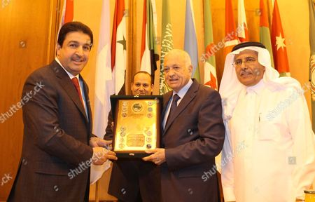 Heads of joint Arab action organisations honour Secretary-General of the Arab League, Nabil Elaraby at the League's headquarters in Cairo