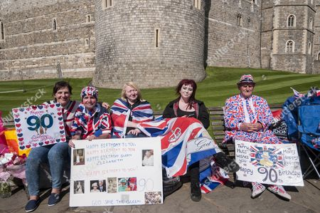 Stock Photo of  (L to R) Kathy Martin, John Loughrey, Maria Scott, Amy Thompson and Terry Hutt are royal fans who will camp out overnight in order to be in prime position in order to see The Queen as she takes part in a walkabout outside Windsor Castle tomorrow her 90th birthday tomorrow.