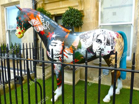 Street art horse sculpture depicting rock icons who died young, including Jimi Hendrix, Kurt Cobain and Janis Joplin