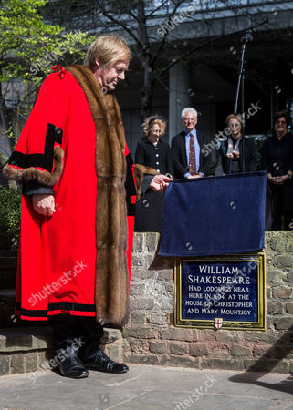 Editorial photo of Blue Plaque unveiled on site of William Shakespeare lodging, London, Britain - 21 Apr 2016