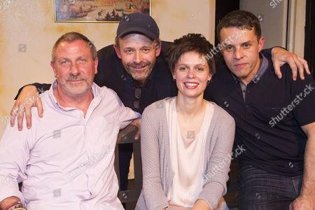 Stock Image of Darren Swift (Moss), Harry Burton (Director), Ida Bonnast (Marta) and Daniel Gentely (Carver)