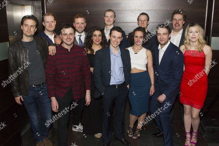Stock Picture of Henry Shields (Author/Mitch Ruscitti), Steven Rostance (Understudy), Chris Leask (Everyone Else), Jeremy Lloyd (Officer Randall Shuck), Nancy Wallinger (Ruth Monaghan), Greg Tannahill (Cooper), Jonathan Sayer (Author/Warren Slax), Charlie Russell (Caprice Freeboys), Dave Hearn (Sam Monaghan), Gareth Tempest (Understudy), Henry Lewis (Author/Robin Freeboys) and Ellie Morris (Understudy)