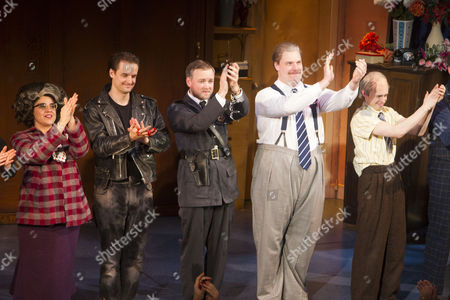 Nancy Wallinger (Ruth Monaghan), Henry Shields (Author/Mitch Ruscitti), Jeremy Lloyd (Officer Randall Shuck), Henry Lewis (Author/Robin Freeboys) and Jonathan Sayer (Author/Warren Slax) during the curtain call