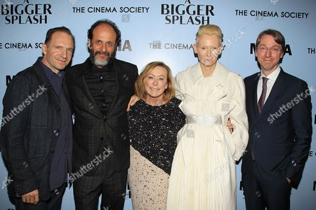 Ralph Fiennes, Luca Guadagnino, Director, Tilda Swinton and David Kajganich, screenwriter