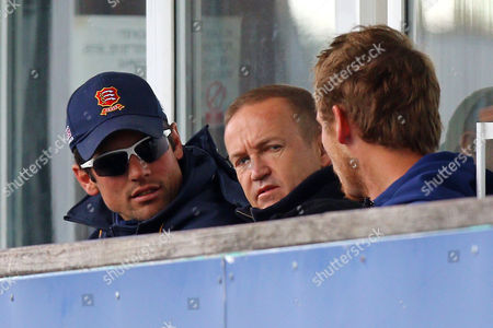 Alastair Cook (L) of Essex and Andy Flower on the dressing room balcony during Essex CCC vs Northamptonshire CCC, Specsavers County Championship Division 2 Cricket at the Essex County Ground on 26th April 2016