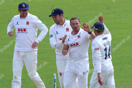 Graham Napier (2nd R) celebrates taking the wicket of Richard Gleeson as Essex clinch victory during Essex CCC vs Northamptonshire CCC, Specsavers County Championship Division 2 Cricket at the Essex County Ground on 27th April 2016