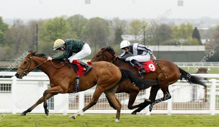 ROCAVERDE (Fran Berry) beats SHALL WE (right) in The Nordoff Robbins Sir George Martin Memorial Maiden Fillies Stakes Div2 Sandown