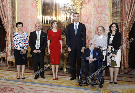 Editorial picture of Spanish Royals receive Cervantes' Prize for literature recipients, Zarzuela Palace, Madrid, Spain - 22 Apr 2016