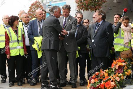 Laurette Onkelinx, Georges Dallemagne, Patrick Dewael (President of the commission), Arnaud Feist (CEO Brussels Airport Company), Siegfried Bracke