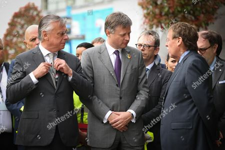 Stock Picture of Patrick Dewael (President of the commission), Arnaud Feist (CEO Brussels Airport Company), Siegfried Bracke