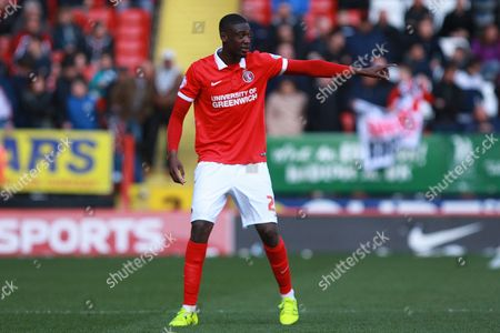 Stock Image of Charlton Athletic striker Yaya Sanogo during the Sky Bet Championship match between Charlton Athletic and Brighton and Hove Albion at The Valley, London