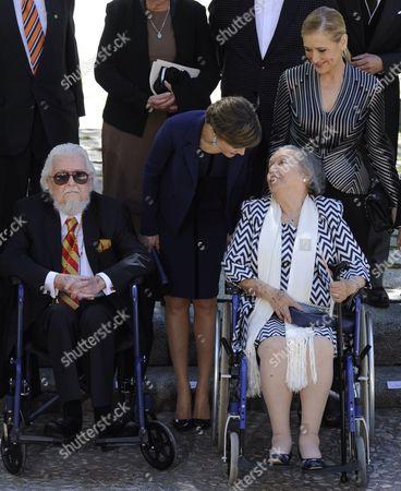 Fernando del Paso Morante, Queen Letizia and del Paso's wife Socorro