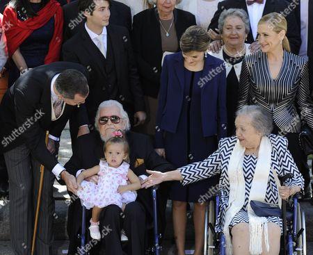 Stock Photo of King Felipe VI of Spain, Fernando del Paso Morante, Queen Letizia, del Paso's wife Socorro and President of the Community of Madrid Cristina Cifuentes