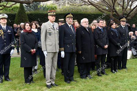 General Pierre Grego, Michel Cadot, Jean Marc Todeschini, Manuel Valls and Anne Hidalgo