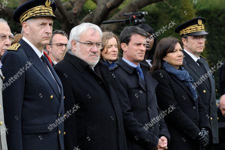 Michel Cadot, Jean Marc Todeschini, Manuel Valls and Anne Hidalgo