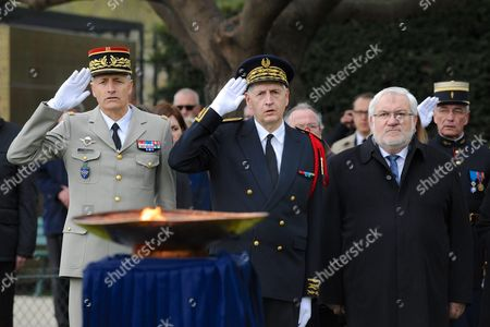 General Pierre Grego, Chief of Police Michel Cadot and Jean Marc Todeschini