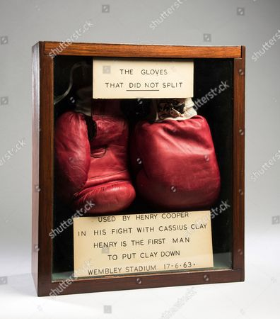 Editorial picture of Auction of Sir Henry Cooper boxing gloves worn during Muhammad Ali match, London, Britain - Apr 2016