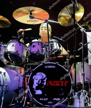 Stock Image of Bobby Blotzer of Ratt performs in concert at the Cedar Park Center