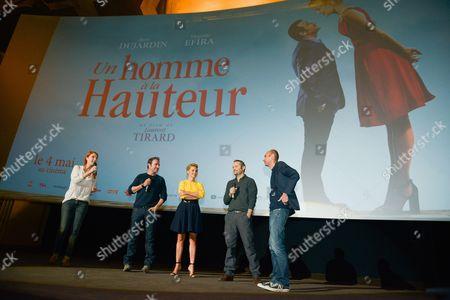 Stock Image of Cedric Kahn, Laurent Tirard, Virginie Efira and Jean Dujardin