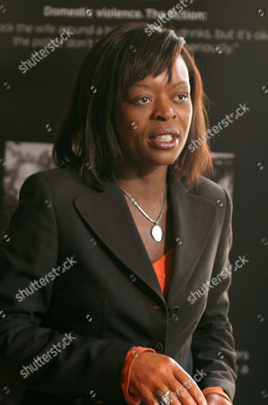 Ronke Phillips, ITN news reporter covering launch of publicity drive aimed at all domestic groups highlighting lesbians, gays, bisexual and transgender suffering domestic violence. The law now allows police to arrest perpetrators without the victim giving a statement. London