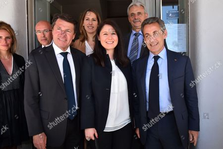 (L-R) French Deputy and President of the Department Council of the 'Alpes Maritimes', Eric Ciotti, Mayor of Nice and President of Regional Council of PACA, Christian Estrosi, Maud Fontenoy, Marine Brenier, French Senator and mayor of Cagnes Sur Mer, Louis Negre and former French president and President of France's right-wing Les Republicains