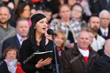 Stock Image of Danielle Thomas sings 'Abide With Me' during the Hillsborough Memorial Vigil, St George's Hall, Liverpool following the ruling of unlawful killing regarding the 96 victims of the Hillsborough tragedy