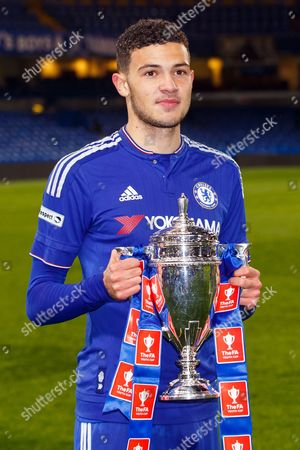 Isaac Christie-Davies of Chelsea U18 celebrates with the trophy after winning the FA Youth Cup Final match between Chelsea and Manchester City played at Stamford Bridge Stadium, London on April 27th 2016