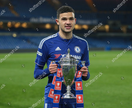 Chelsea Under 21's Isaac Christie-Davies with Trophy after winning   FA Youth Cup Final 2nd Leg Chelsea Under 21s against Manchester City Under 21s at Stamford Bridge London Britain 27 April 2016