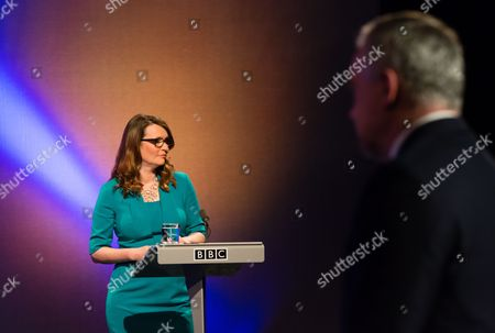 Kirsty Williams, Welsh Liberal Democrats leader and BBC presenter Huw Edwards