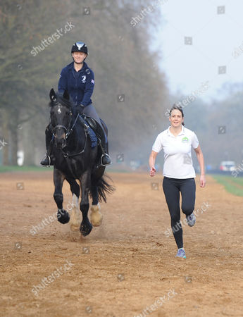 Olympian Kelly Sotherton Races Murphy The Horse Ridden By Hannah Bendon In Hyde Park To Launch 2015s Man Vs Horse Marathon. The Marathon Takes Place In Llanwrtyd Wells Wales On June 13th.