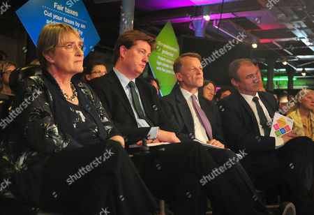Liberal Democrat Manifesto Launch. Pictured (l-r): President Of The Lib Dems Baroness Sarah Brinton Danny Alexander David Laws And Ed Davey.