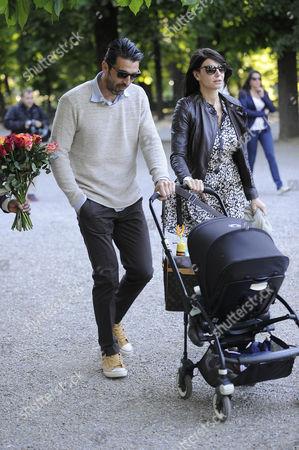 Gianluigi Buffon and Ilaria D'Amico with their son Leopoldo Mattia