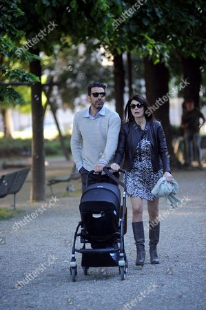 Editorial picture of Gigi Buffon with Ilaria D'Amico out and about, Milan, Italy - 27 Apr 2016