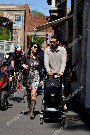 Editorial photo of Gigi Buffon with Ilaria D'Amico out and about, Milan, Italy - 27 Apr 2016