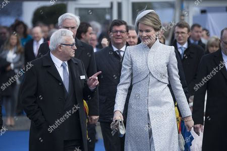 Queen Mathilde of Belgium christens the new Jan De Nul Group ship, with Bart Tommelein