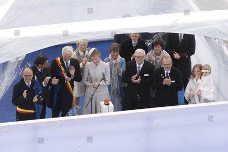 Queen Mathilde of Belgium christens the new Jan De Nul Group ship, with Bart Tommelein, Johan Vande Lanotte