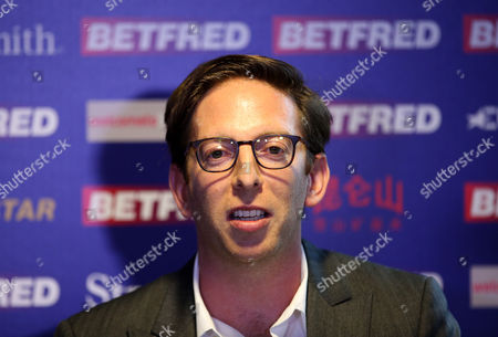 Adam Kelly of IMG during a press conference announcing a new 10 year broadcast deal with Eurosport for coverage of snooker during day 13 of the Betfred World Snooker Championship