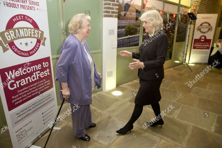 Camilla Duchess of Cornwall meeting Patricia Routledge