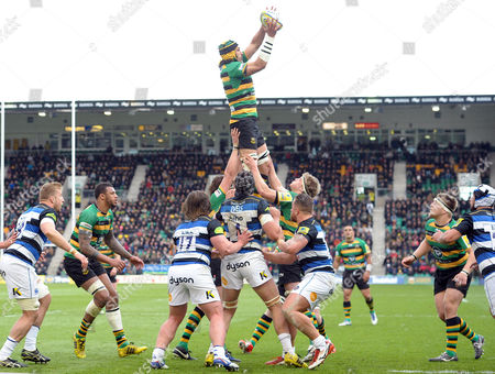 Editorial picture of Northampton Saints v Bath Rugby, Aviva Premiership, Rugby Union, Franklin's Gardens, Britain - 30 Apr 2016