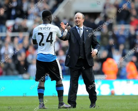 Rafa Benitez manager of Newcastle United (right) congratulates Cheik Tiote of Newcastle United after the final whistle during the Barclays Premier League match between Newcastle United and Crystal Palace played at St. James' Park, Newcastle upon Tyne, on the 30th April 2016